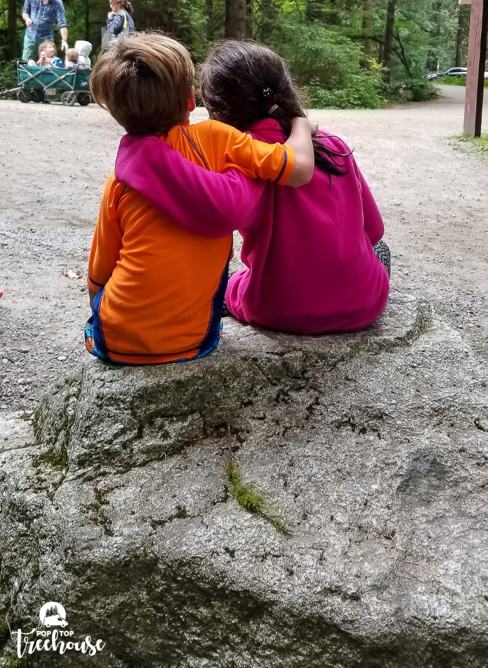 Camping Kids Hugging