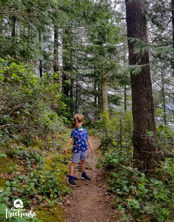 kid having fun on hiking trail