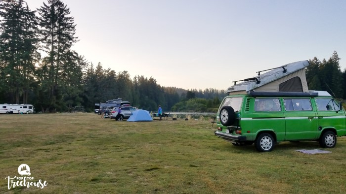 green westy camping