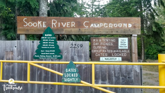 Sooke River Campground sign and gate