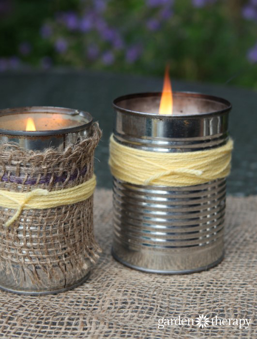 homemade citronella candles in tins