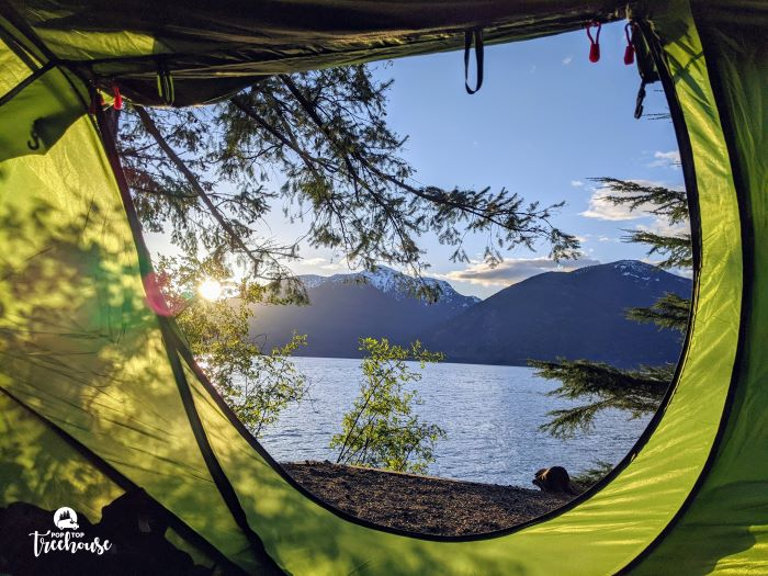 Porteau Cove camping view from tent