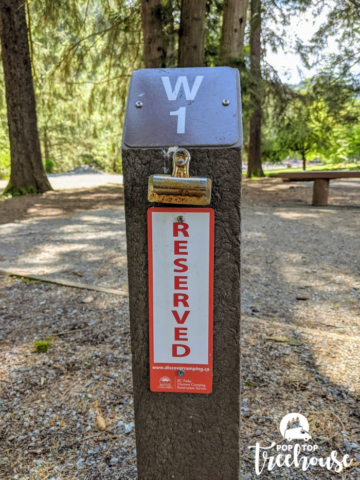 reserved camping sign
