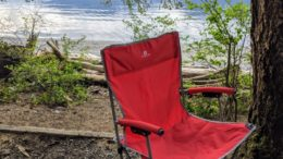 red camp chair