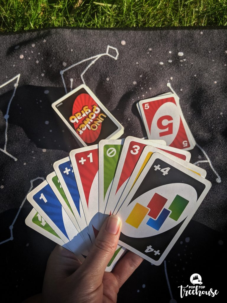 Uno while camping