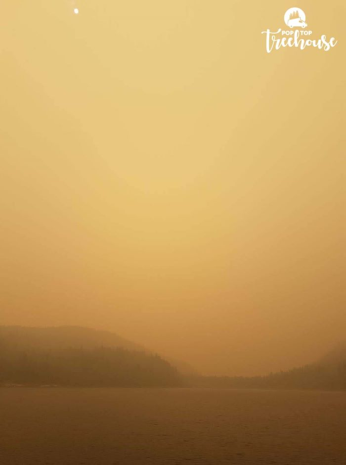 orange sky from forest fires